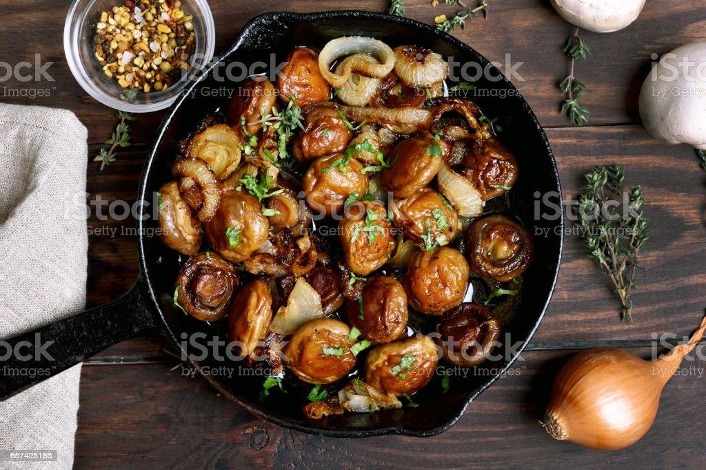 Fried mushrooms stock photo