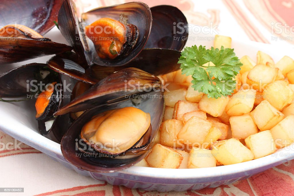 Moules Frites stock photo