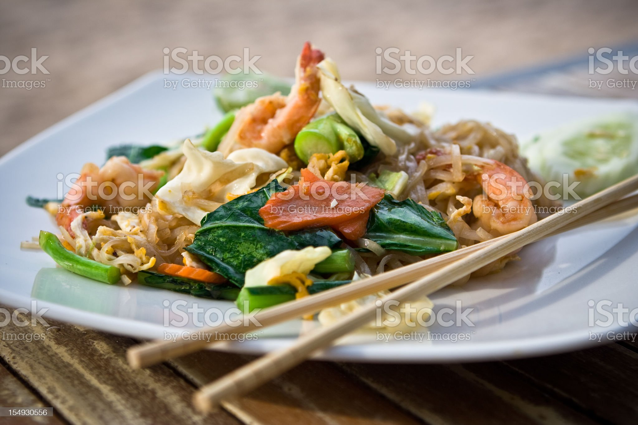 Fried noodle with prawn royalty-free stock photo