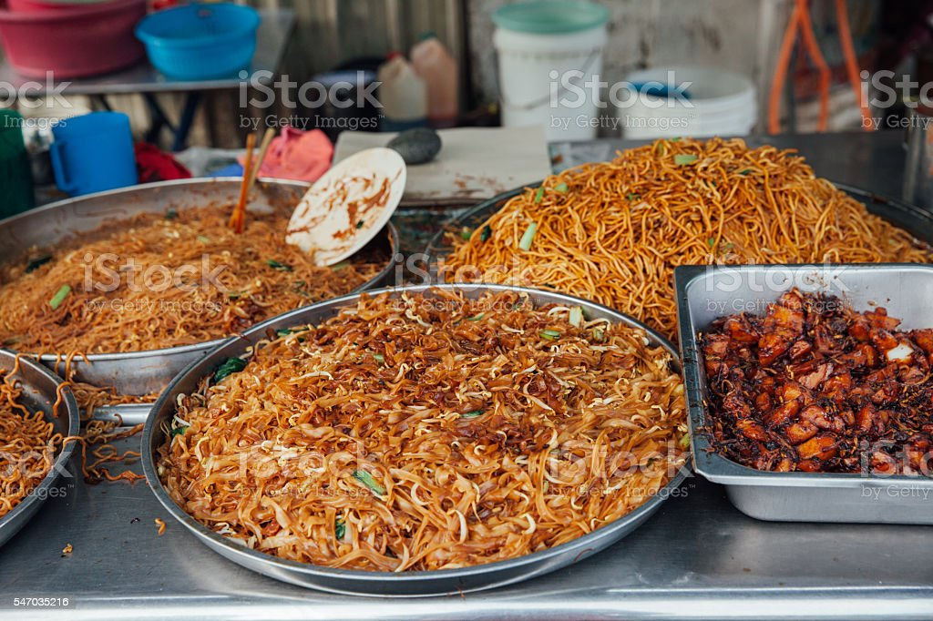 Fried noodles at the Kimberly Street Market, Penang stock photo