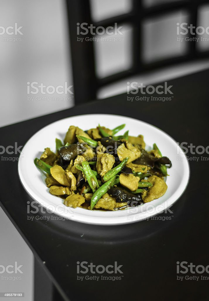 Fried oil with pork stock photo