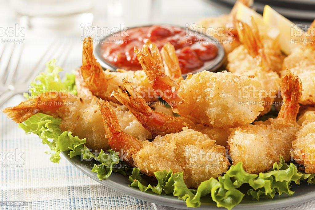 Fried Organic Coconut Shrimp stock photo