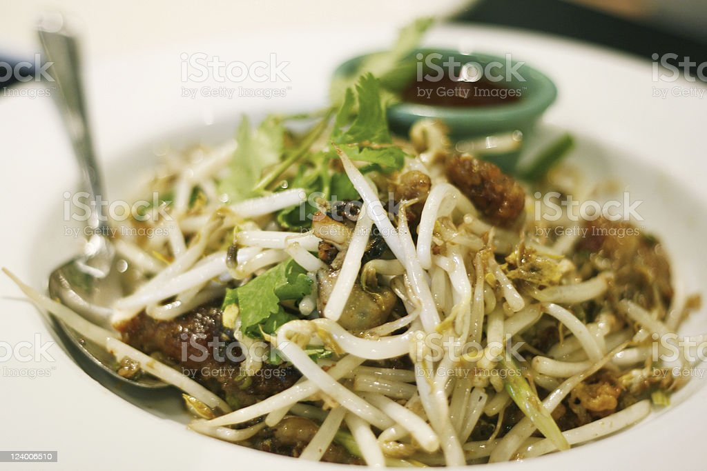 Fried Oyster Bean Sprout royalty-free stock photo