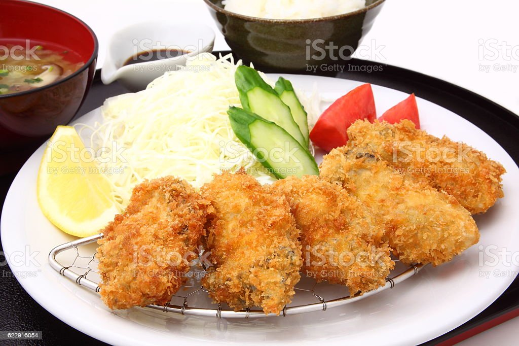Fried oyster, Japanese food stock photo