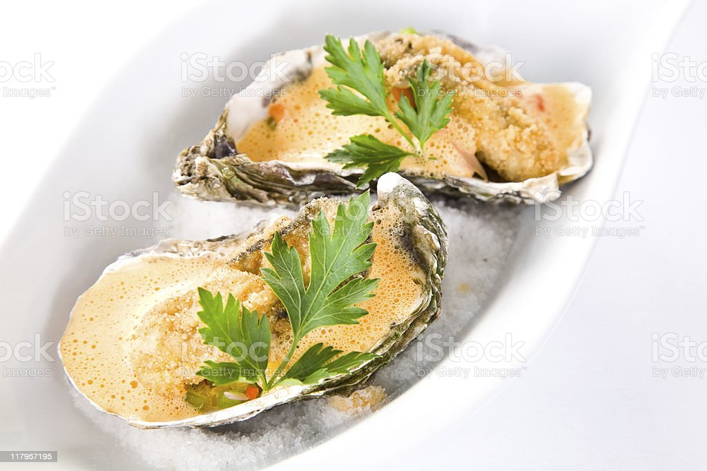 Fried oyster stock photo