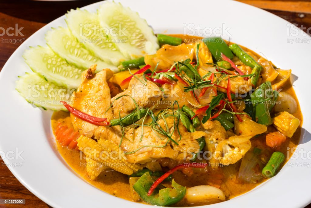 Fried Panang Curry, traditional Thai cuisine dish stock photo