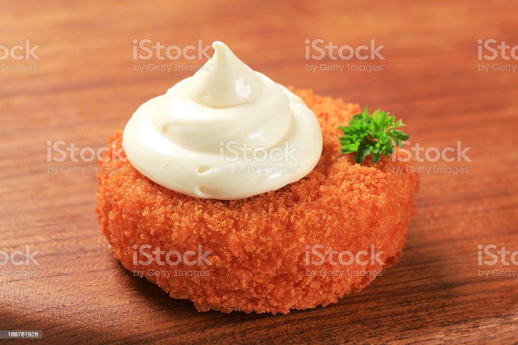 Fried patty and mayonnaise royalty-free stock photo