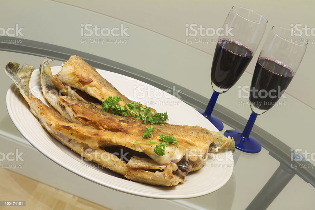 Fried pike perch royalty-free stock photo