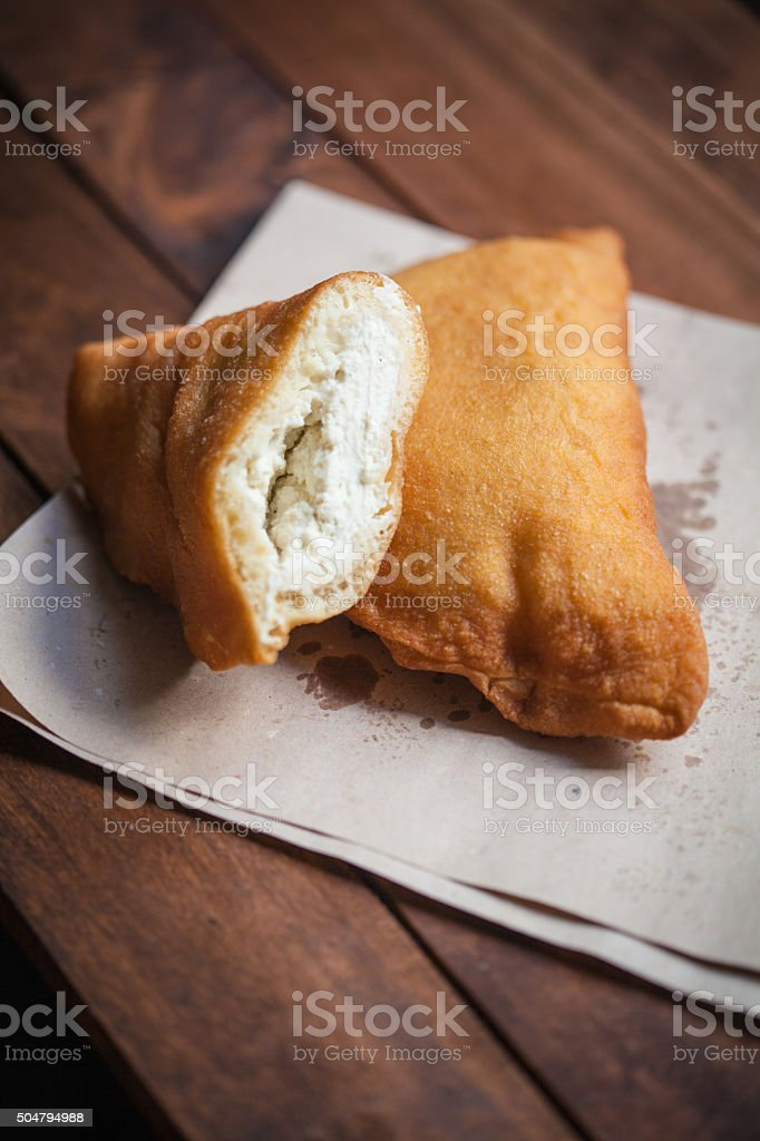 Fried Pizza With Ricotta stock photo