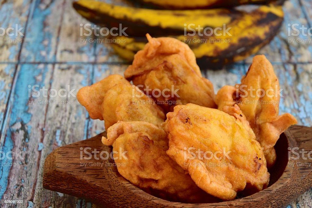 Fried plantain banana stock photo