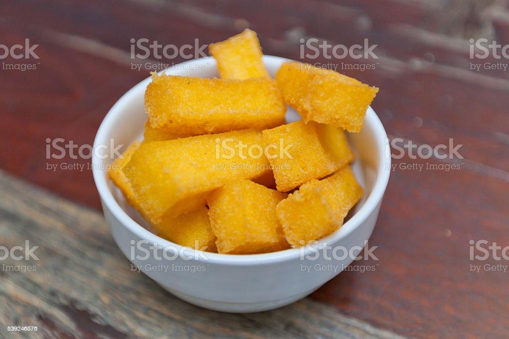 Fried Polenta stock photo
