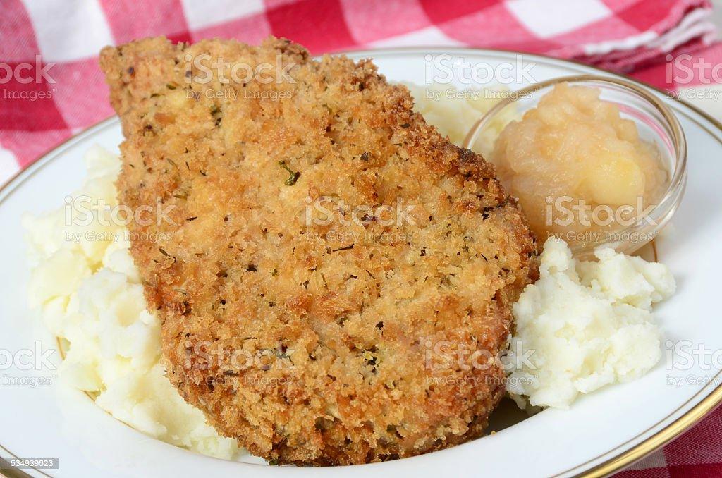 Fried Pork Chop and Apple Sauce stock photo