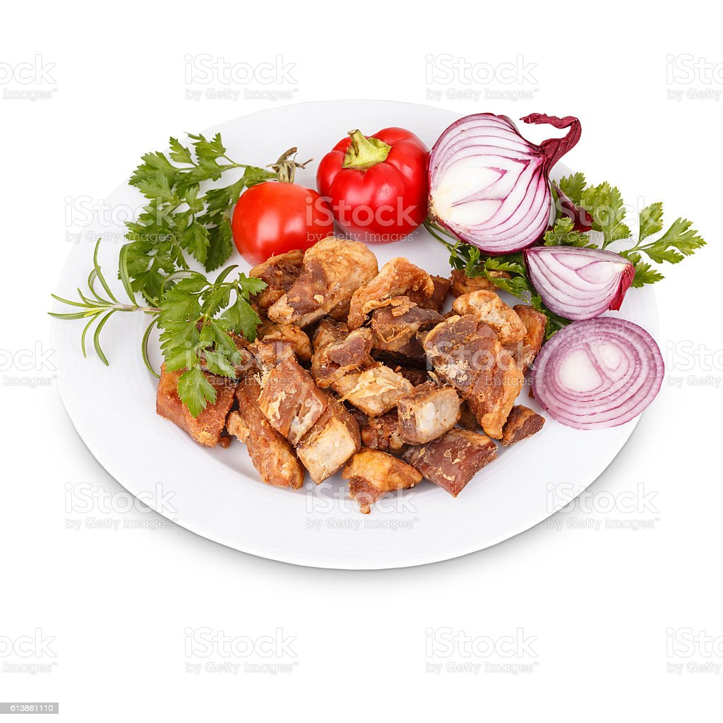 Fried pork greaves stock photo