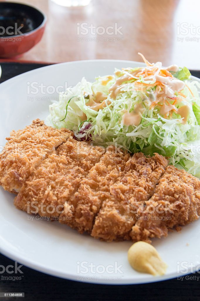 Fried pork meat - japanese food style tonkatsu stock photo
