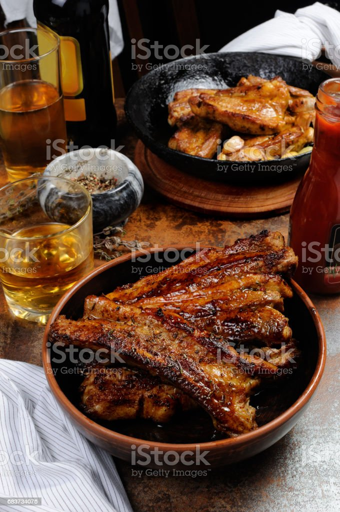 Fried pork ribs stock photo