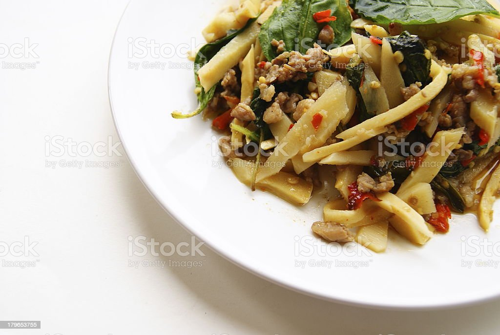 Fried pork with chili and basil leave royalty-free stock photo