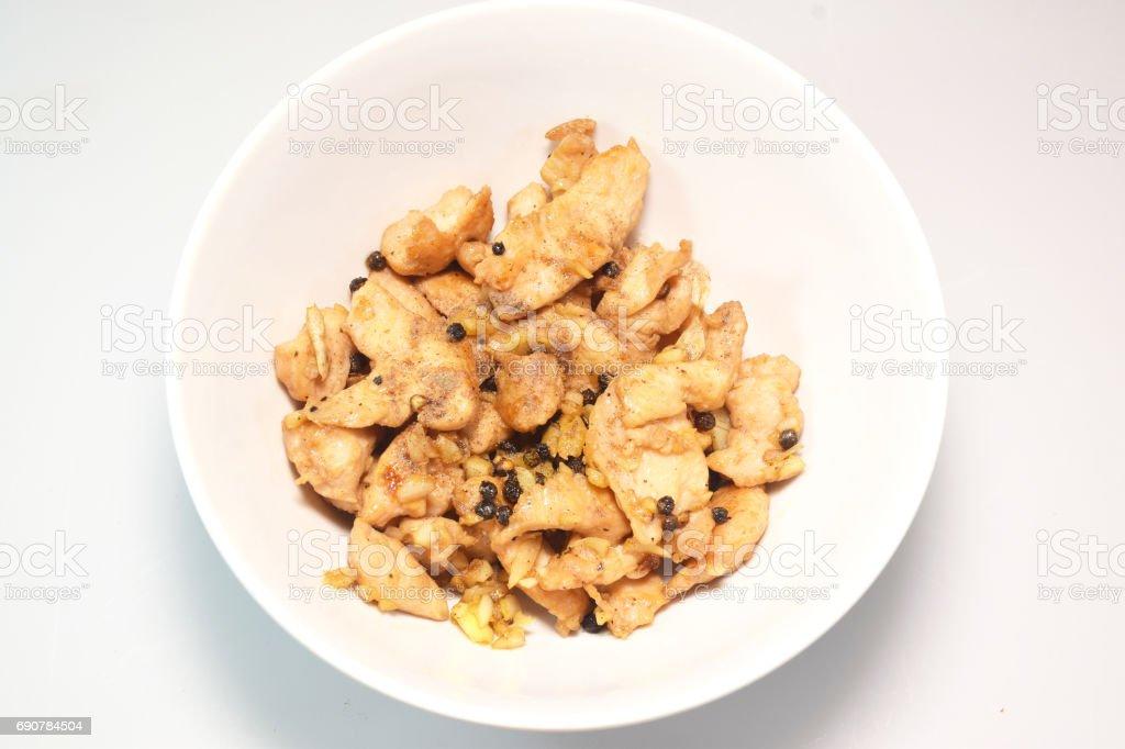 Fried pork with garlic black pepper 0031 stock photo
