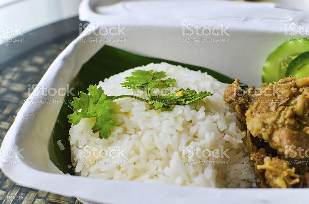 Fried pork with garlic on rice - Thai Street Food royalty-free stock photo