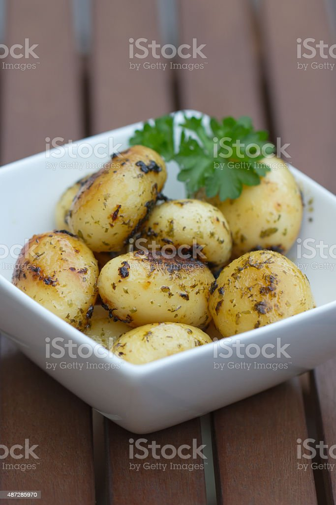 Fried Potatoes with Parsley stock photo