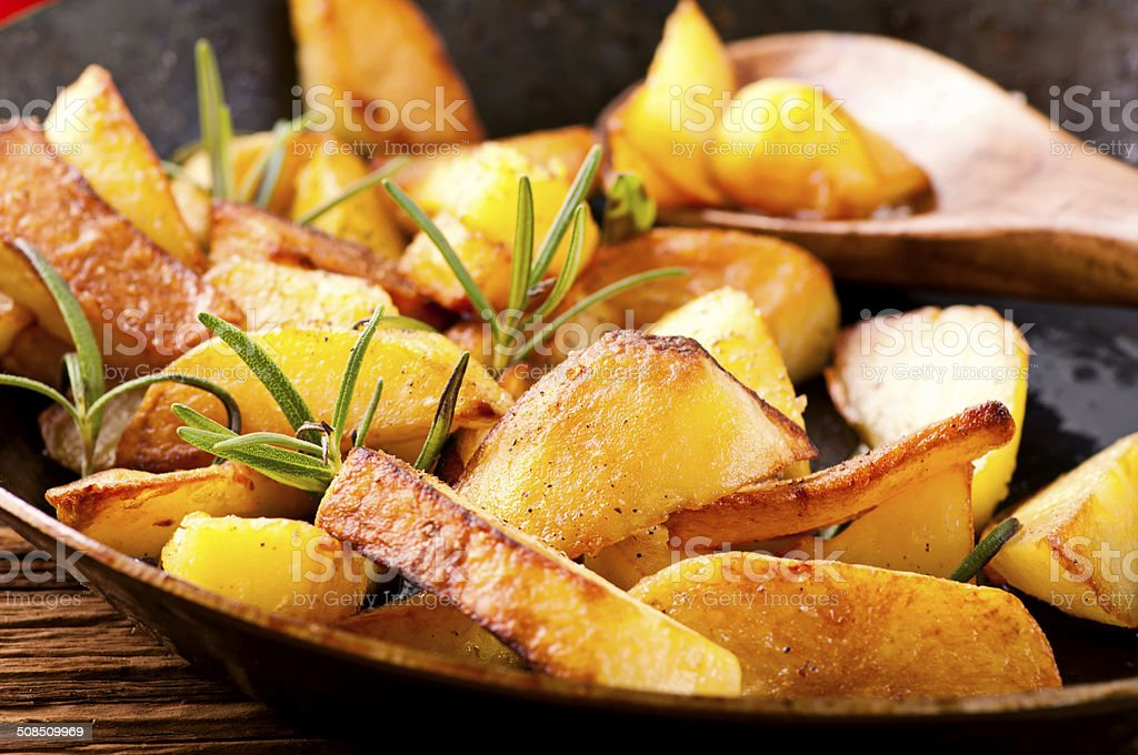 Fried Potatoes with Rosemary stock photo