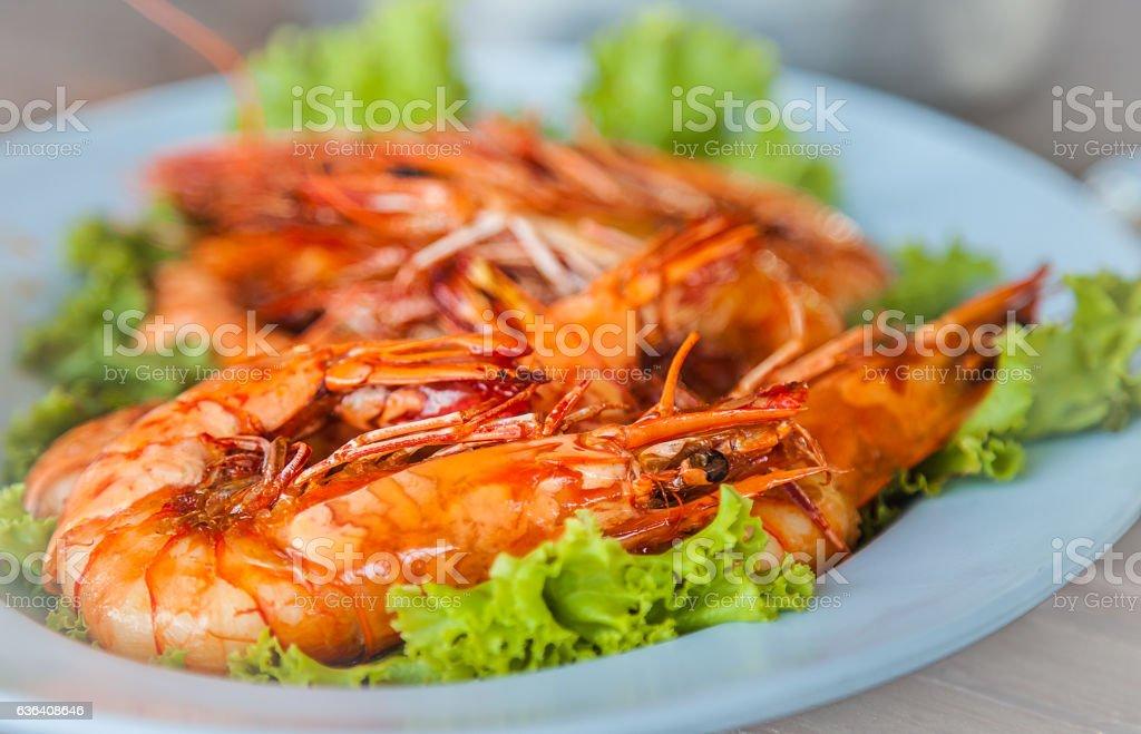 fried prawns stock photo
