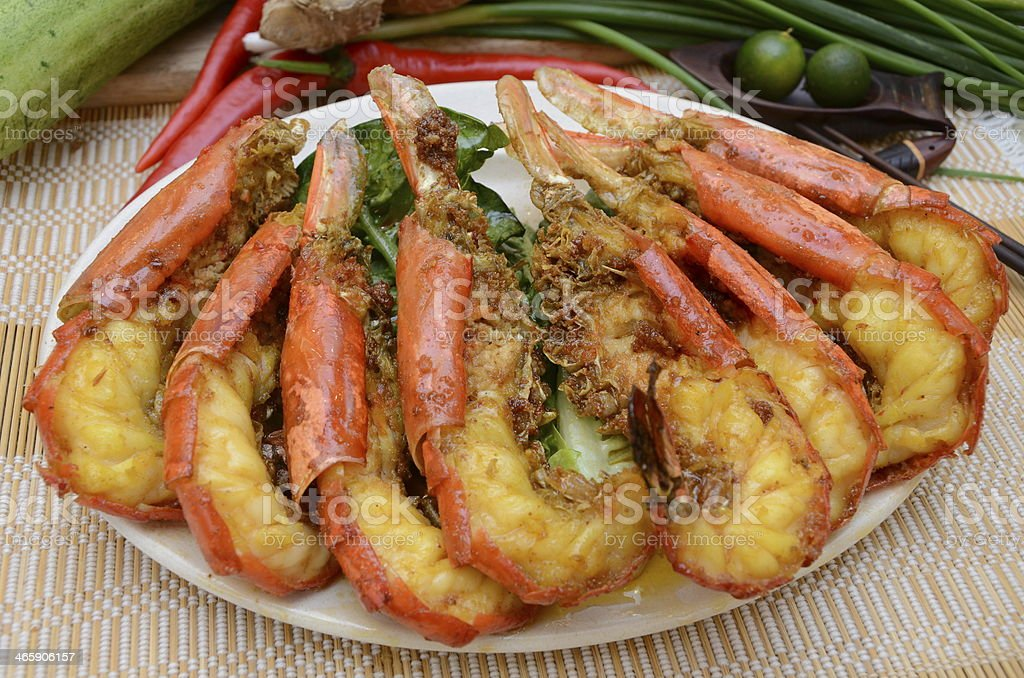 Fried prawns served on a plate stock photo