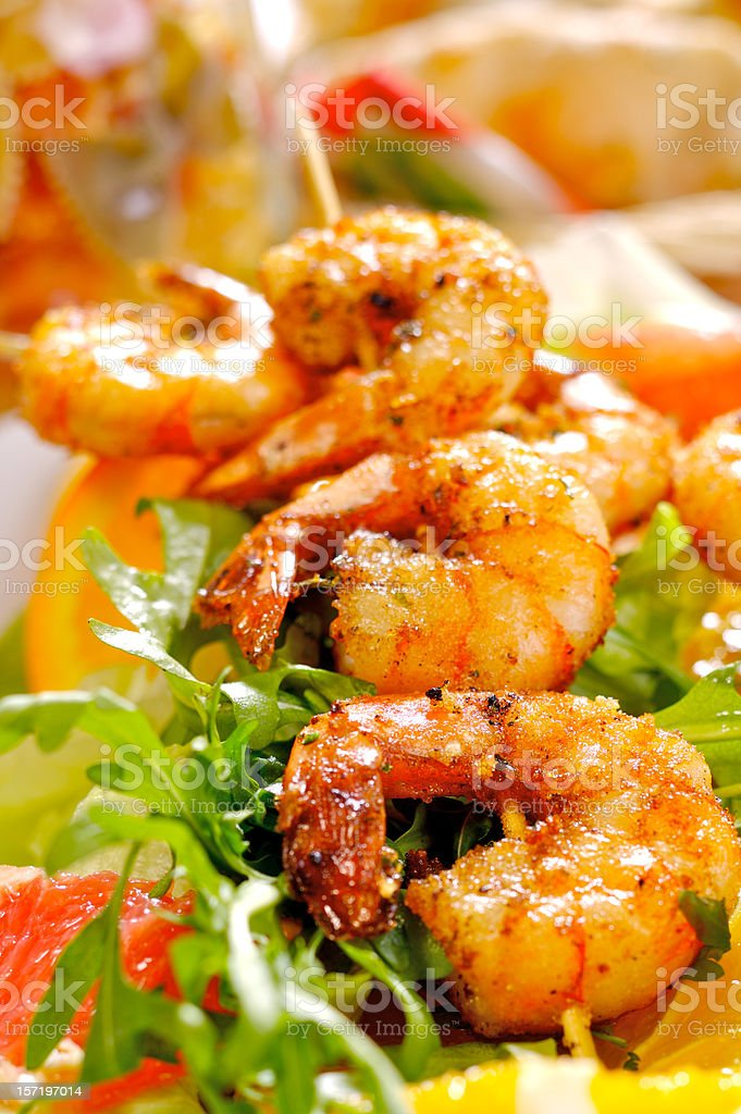 Fried prawns served with a salad dressing stock photo