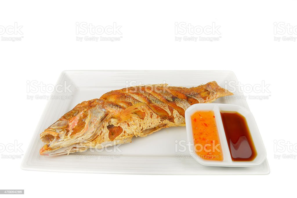 Fried red snapper stock photo