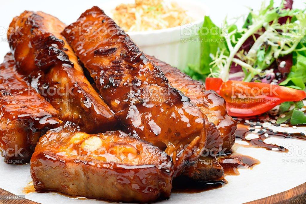 Fried ribs stock photo