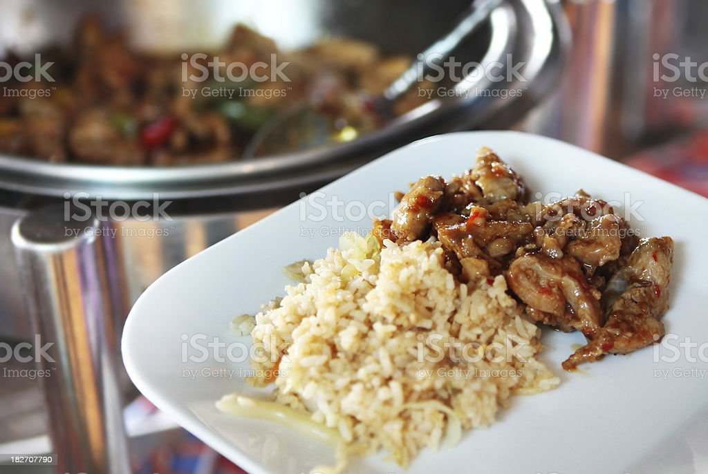 Fried Rice and Chicken royalty-free stock photo