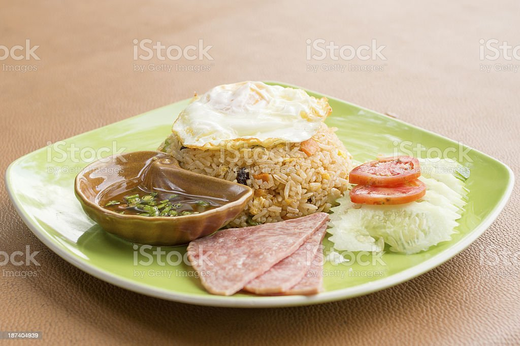 Fried rice and ham royalty-free stock photo