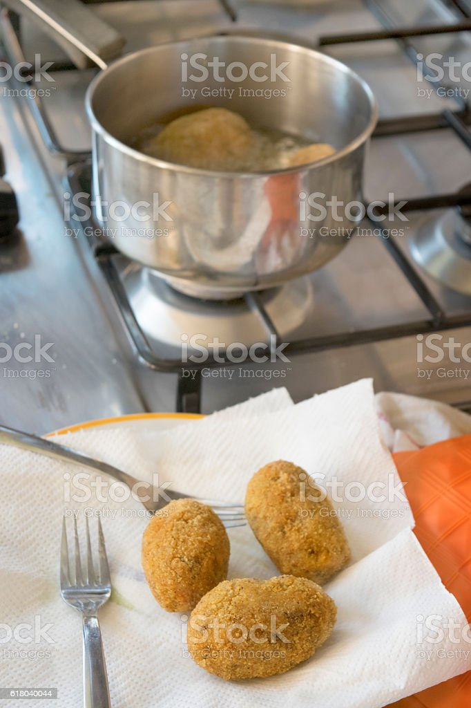 fried rice balls stock photo