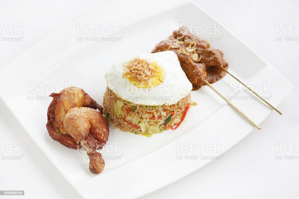 Fried rice, egg and meat stock photo