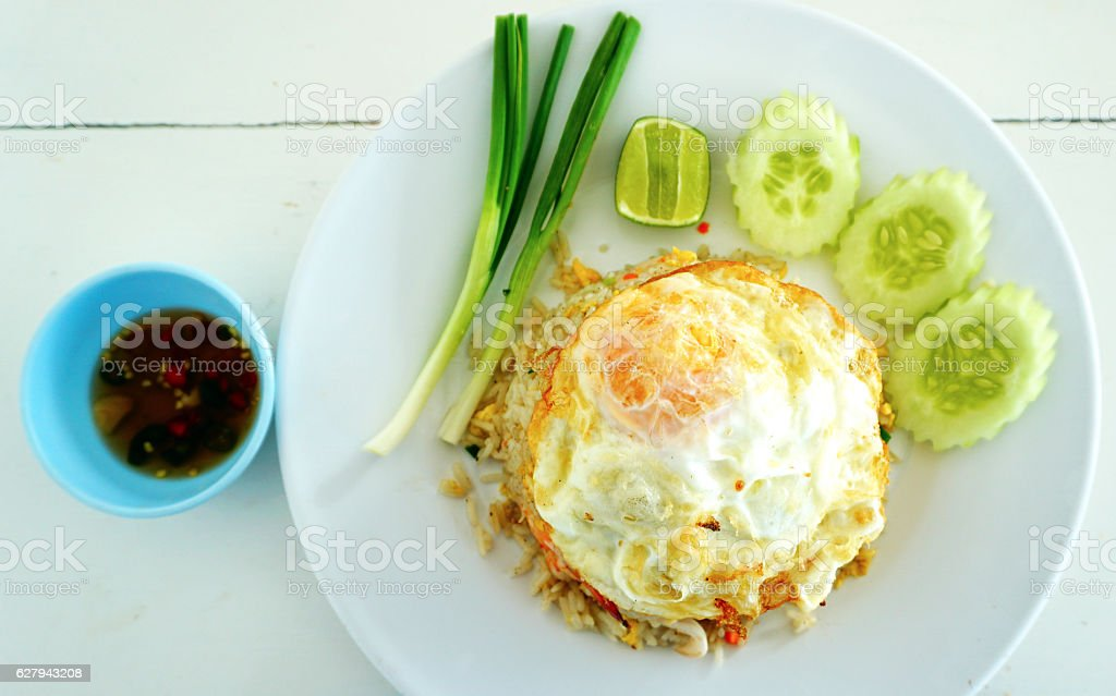 Fried rice egg and shimp with fish sauce stock photo