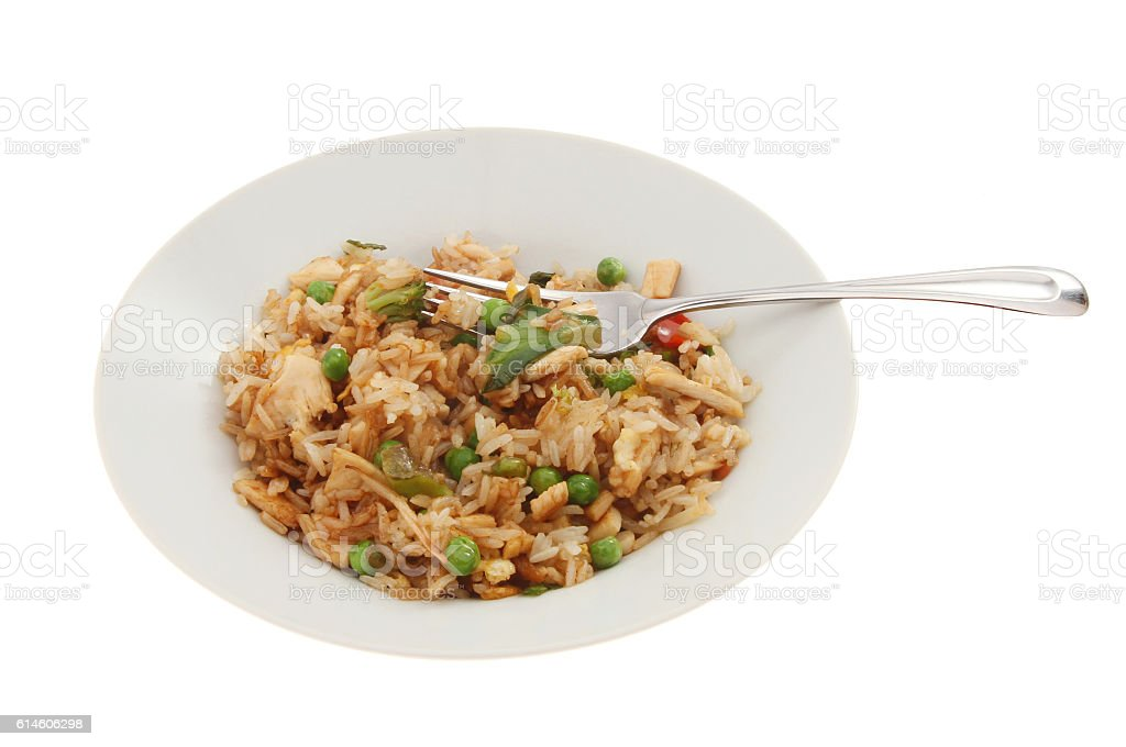 Fried rice in a bowl stock photo