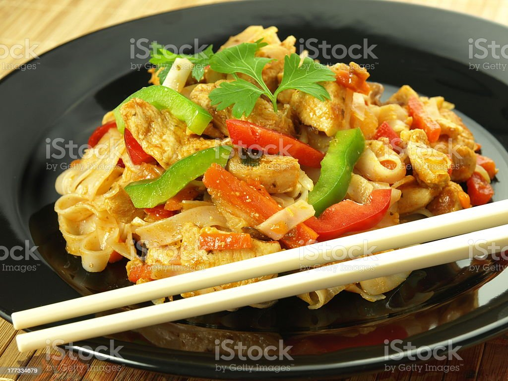 Fried rice noodles royalty-free stock photo
