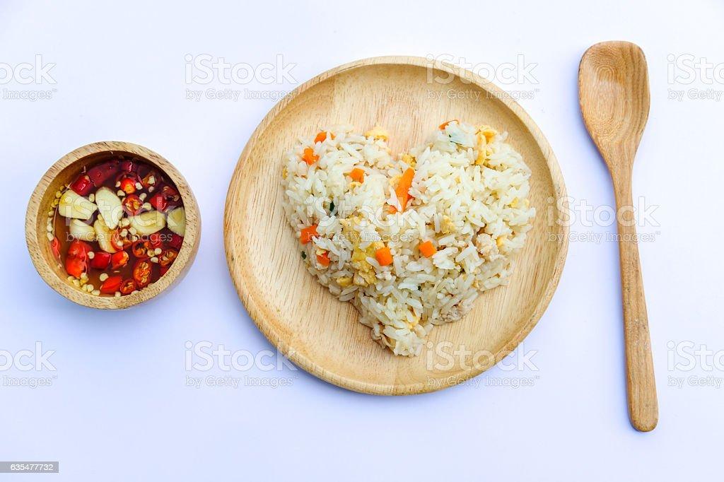Fried rice on wood dish, White background, isolated stock photo