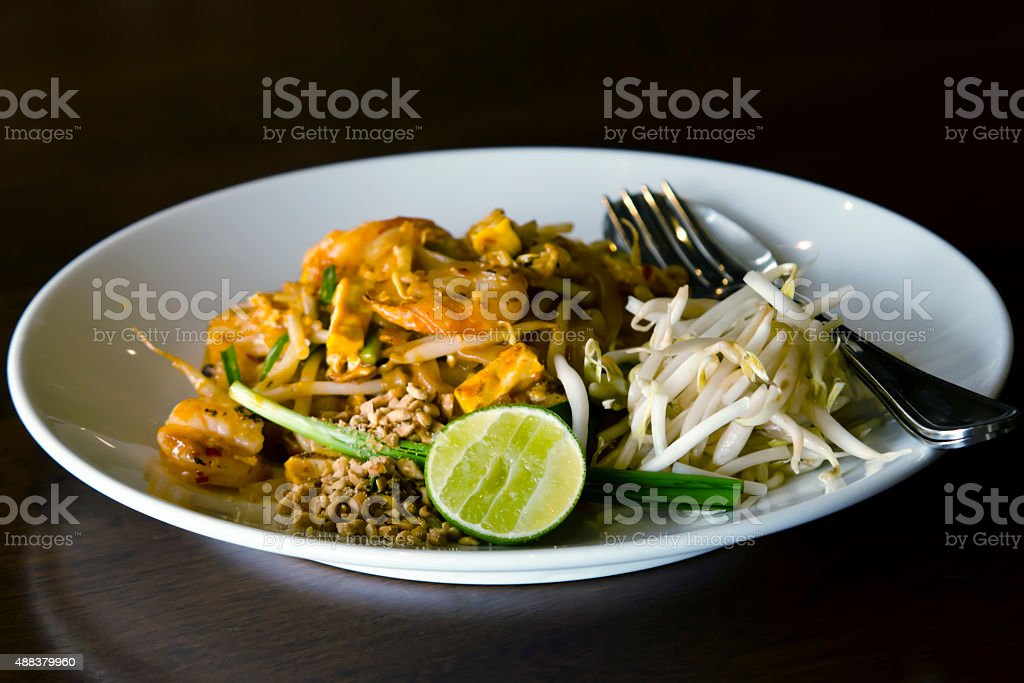 Fried Rice Sticks with Shrimp stock photo