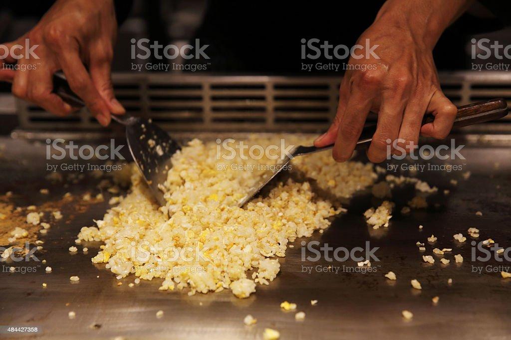 fried rice teppanyaki Japanese Cooking stock photo