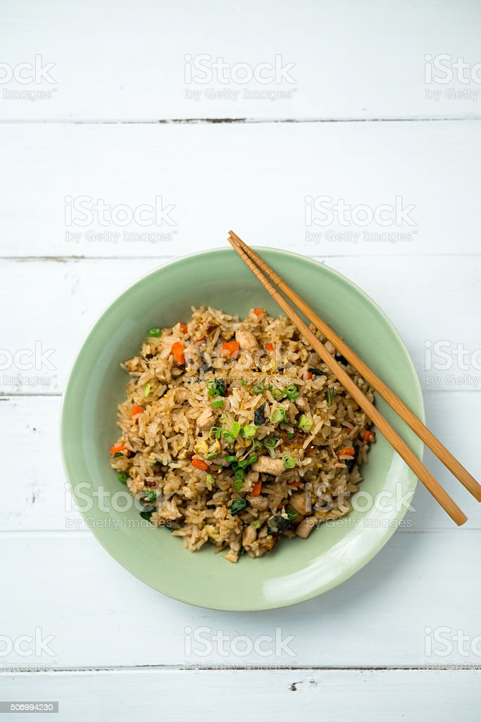 Fried Rice Vertical Top View stock photo