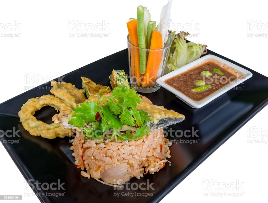 fried rice with chili sauce and mackerel stock photo