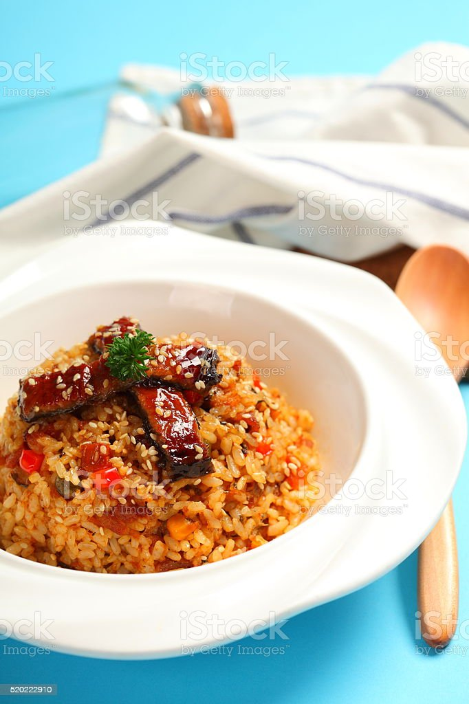 Fried rice with eel stock photo