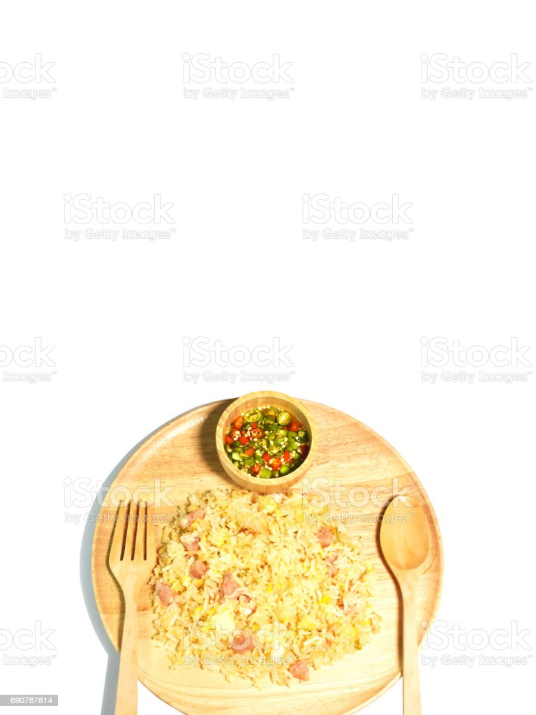 Fried rice with fermented pork isolated stock photo