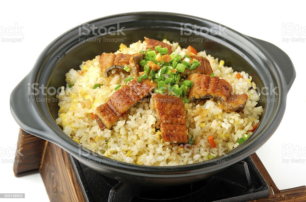 Fried rice with grilled eel stock photo