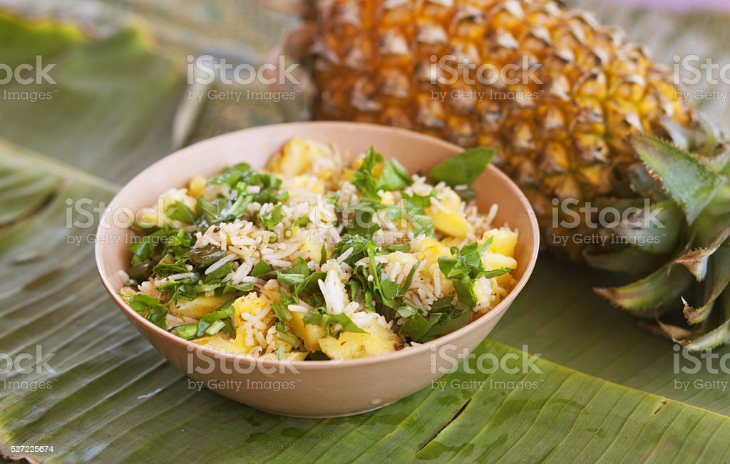 Fried rice with pineapple stock photo