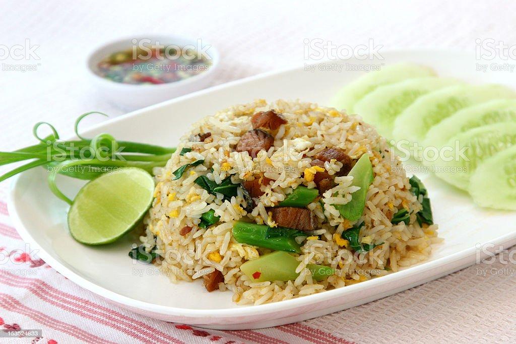 fried rice with pork, Thai cuisine stock photo