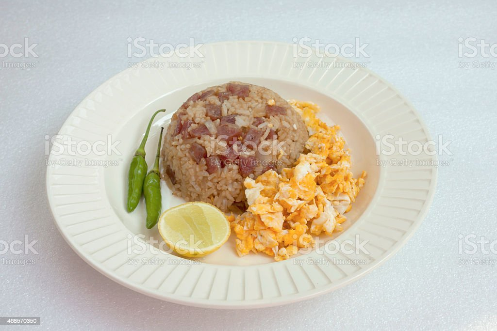 Fried rice with sausage and fried egg royalty-free stock photo