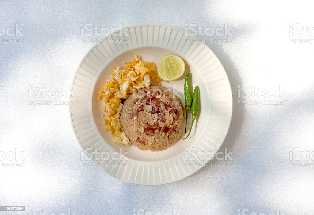 Fried rice with sausage royalty-free stock photo