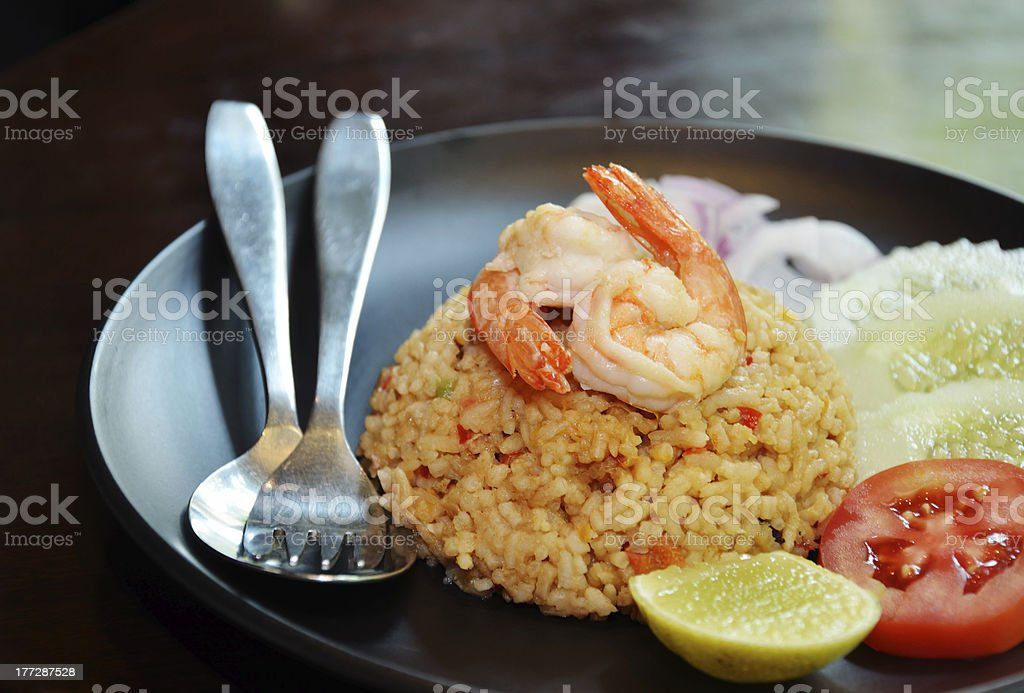 Fried Rice With Shrimp royalty-free stock photo