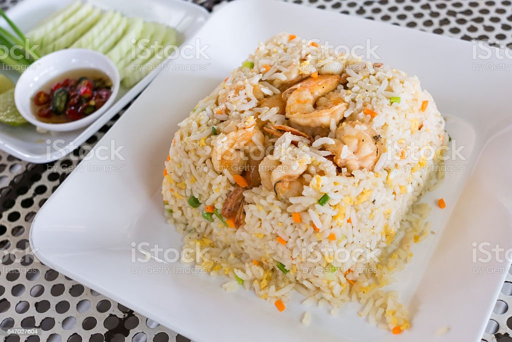 fried rice with shrimps, Thai food. stock photo